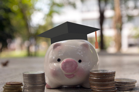 Piggy bank with college cap