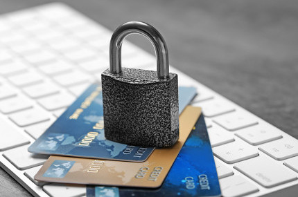 Credit cards with a padlock